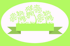 Tree on the ribbon. Several green trees on a green ribbon Royalty Free Stock Image