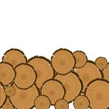 Tree rings cut background. Wood trunk section. Cartoon vector illustration in flat style Stock Photos