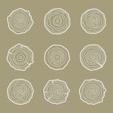 Tree rings icons  illustration. Abstract age annual. Circl Royalty Free Stock Photos