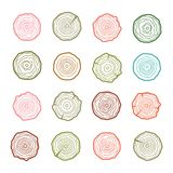 Tree rings icons illustration. Abstract age annual. Circl. E tree background Stock Illustration