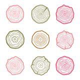 Tree rings icons illustration. Abstract age annual. Circl. E tree background royalty free illustration