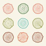 Tree rings icons  illustration. Abstract age annual. Circl Royalty Free Stock Photo