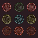 Tree rings icons  illustration. Abstract age annual. Circl Royalty Free Stock Images