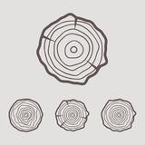 Tree rings icons  illustration. Abstract age annual. Circl Stock Images