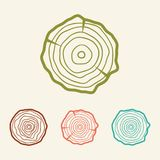 Tree rings icons  illustration. Abstract age annual. Circl Stock Image