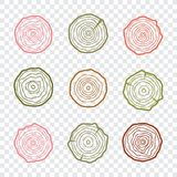 Tree rings icons vector illustration. Abstract age annual. Circl. E tree background Vector Illustration