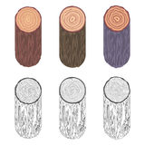 Tree rings saw cut tree trunk barrel bark natural decorative design elements set vector illustration. Tree rings saw cut tree trunk barrel bark decorative Stock Photo