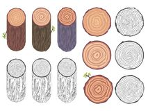 Tree rings saw cut tree trunk barrel bark natural decorative design elements set vector illustration. Tree rings saw cut tree trunk bark barrel natural Stock Images