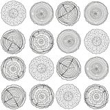 Illustration. Art creation. Tree rings. Seamless pattern. Set of tree rings on isolation background. Conceptual graphics. Line art. Objects for design Stock Photography