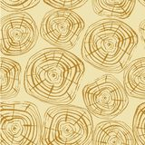 Tree Rings Seamless Vector Pattern. Saw cut tree trunk background. Vector illustration for textile, print, wallpapers, wrapping stock illustration