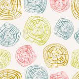 Tree Rings Seamless Vector Pattern. Saw cut tree trunk background in light pastel colors. Vector illustration for textile, print, wallpapers, wrapping royalty free illustration