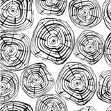 Tree Rings Seamless Vector Pattern. Saw cut tree trunk black on white background. Vector illustration for textile, print, wallpapers, wrapping royalty free illustration