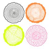 Tree rings. Set of cross section royalty free illustration