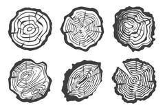 Tree rings set isolated on white background Stock Image
