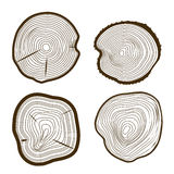 Tree Rings Set Saw Cut Trunk Web Design Style. Vector stock illustration