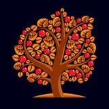 Tree with ripe apples, harvest season theme illustration. Fruitf Royalty Free Stock Photography