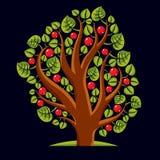 Tree with ripe apples, harvest season theme illustration. Fruitf Royalty Free Stock Photos