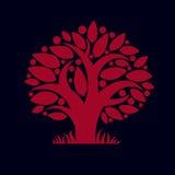 Tree with ripe apples, harvest season theme illustration. Fruitf Royalty Free Stock Photo