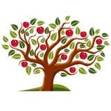 Tree with ripe apples, harvest season theme illustration.  Royalty Free Stock Photos