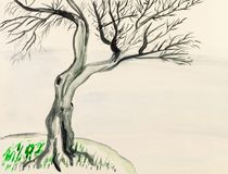Tree on riverbank hand painted on colored paper Royalty Free Stock Photos