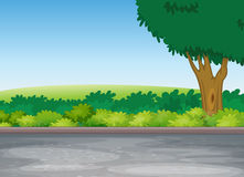 Tree beside road. Illustration of tree beside road in a beautiful nature Stock Image