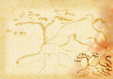 A tree on a rock. Figure in the eastern style - a tree on a rock vector illustration