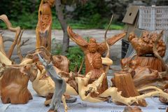 Tree root carving arts and crafts. Sales. photo taken on:July 15th,2018 stock image