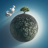 Tree roots covering the planet. Tree roots covering small planet Royalty Free Stock Photo