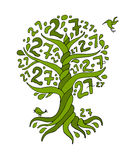 Tree 27 with roots for your design Royalty Free Stock Photos