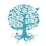 Tree 27 with roots, zentangle for your design Royalty Free Stock Photo