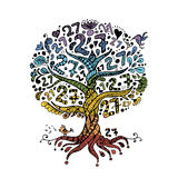 Tree 27 with roots, zentangle for your design Royalty Free Stock Images