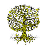 Tree 27 with roots, zentangle for your design Royalty Free Stock Photography
