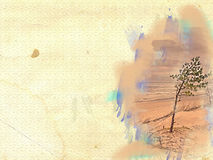 Tree in sand on grunge background Stock Photo