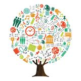 Tree of school subject icons for education concept. Tree made of highschool subject icons and symbols, global education concept. Educational illustration for royalty free illustration