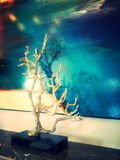 Tree sculpture. Beautiful texture, downlights reflect on feature wall, very nice tree sculpture, aqua blue feature wall with a touch of red and white, very Stock Photography