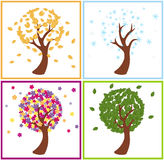 Tree and season. Illustration of a cartoon style tree in the four different seasons Stock Photos