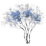 A Tree. Seasons. Winter. The picture of a branchy tree painted in cool colors of winter Stock Image