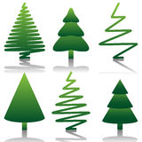 Tree set. Illustration of set of tree symbols as a New Year and ecology Stock Photography