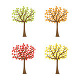 Tree set with different color leaves. Trunk silhouette. Deciduous tree in summer, autumn, spring season. White background.   Royalty Free Stock Images