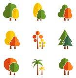 Tree set on flat design style. Concept season icons with tree set on flat design style Royalty Free Stock Photo