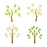 Tree set. Four different green tree set on white background Stock Image