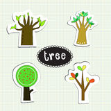 Tree set. Has four style of tree on paper Royalty Free Stock Photos