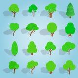 Tree set icons, isometric 3d style. Isometric tree icons set. Universal tree icons to use for web and mobile UI, set of basic tree elements vector illustration Royalty Free Stock Photos