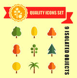 Tree set nine icons with red tape. Isolated tree set nine icons with red tape on flat design Stock Photos