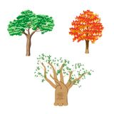 Tree set. Three different green tree set on white background Royalty Free Stock Image