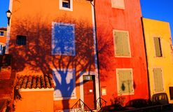 Tree shadow II. Tree shadow on a house in Roussillon, France royalty free stock image