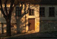 Tree shadow on old house Royalty Free Stock Images