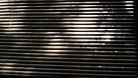 Tree shadows behind window blind stock footage