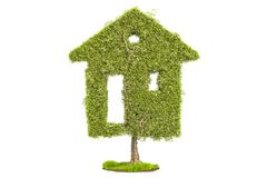 Tree in the shape of home. Ecological house concept, 3D renderin. G  on white background Royalty Free Stock Photos