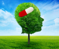 Tree in a shape of side profile human head with pill Stock Photos